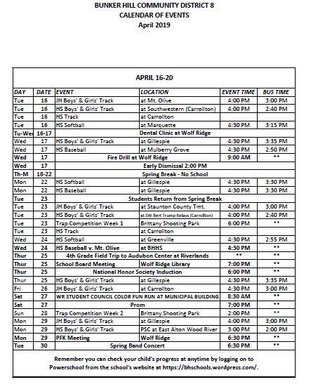 April Events 16 30