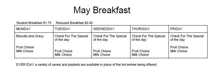 May Breakfast Menu